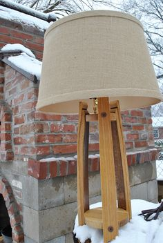 Whiskey Barrel Table Lamp with Lamp Shade, Rustic, Handcrafted, Table Lamp… Whiskey Barrel Furniture, Whiskey Barrels, Bourbon Barrel, Table Lamp Wood, Wooden Lamp, Table Baril, Wine Barrel Crafts, Fluorescent Light Covers, Wine