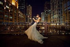 Awesome wedding photograph / Chicago skyline, bridge, bride and groom. Photo by: http://richchapmanphoto.com