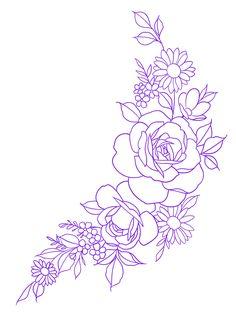 Half Sleeve Tattoo Stencils, Flower Tattoo Stencils, Mandala Flower Tattoos, Flower Thigh Tattoos, Rose Stencil, Rose Tattoos, Body Art Tattoos, Sleeve Tattoos, Tattoo Outline Drawing
