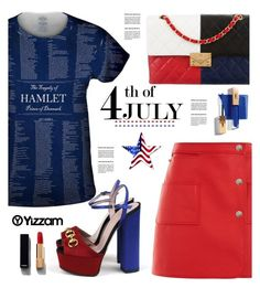 """Yizzam.com: 4th of July!!"" by hamaly ❤ liked on Polyvore featuring Courrèges, Chanel, Gucci, vintage, ootd, blouse, 4thofjuly and yizzam"