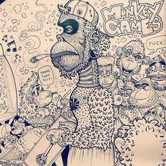 Minha arte de macaco _ My monkey art  www.cargocollective.com/rastichong  #art #planetoftheapes #illustration #desenho #apes #macacos #game #gamer #ink #pin #tits #weed #smoke #joint #fattie #fliperama #monkey #monkeybusiness #sketch #sketchbook #arte #rastichong #draw #donkeykong #420 #crazy #naked #banana #blackandwhite #videogames