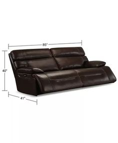 "Furniture Barington 85"" Leather Sofa with 2 Power Recliners, Power Headrests and USB Power Outlet & Reviews - Furniture - Macy's Reclining Sectional, Mattress Brands, Power Recliners, Baby Sale, Baby Boy Gifts, Leather Sofa, Home Office, Palm, Room Ideas"