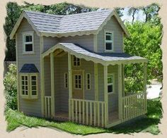 outdoor playhouse plans -- this site has a variety of different plans, kits, etc. Think I'd want a small house made like this Kids Playhouse Plans, Outside Playhouse, Playhouse Kits, Backyard Playhouse, Build A Playhouse, Wooden Playhouse, Outdoor Playhouses, Cubby Houses, Play Houses