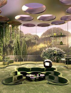 Futuristic Interior, Futuristic Architecture, Interior Architecture, Interior And Exterior, Organic Architecture, Beautiful Architecture, Dream Home Design, House Design, Retro Interior Design