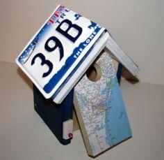Texas road map birdhouse  license plate birdhouse  by FurTheBirds