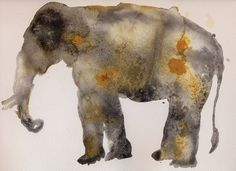 Elephant I - Grey and Ochre (2-2016) Ink,watercolour, tea, pigment on paper Guillermo Summers