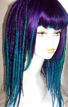custom dread wig fringe ombre purple and teal from damnationhair.com #damnationhair