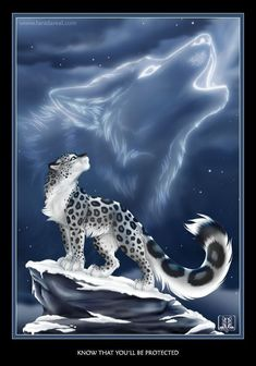 """Snow leopard in body, wolf in spirit. I have a little magnet about the totem animal wolf, which contains that phrase """"Wolf - Know that you will be protected"""". I always wanted to do a picture dedi. Mystical Animals, Mythical Creatures Art, Magical Creatures, Pet Anime, Anime Animals, Cute Animals, Arte Furry, Furry Art, Big Cats Art"""