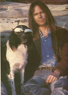Neil Young and his dog Art, Malibu, 1975