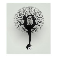 Yin Yang, Tree of Life, Women, Yoga Poster