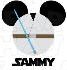 Star Wars Jedi Luke Skywalker in Mickey head INSTANT DOWNLOAD digital clip art image :: My Heart Has Ears