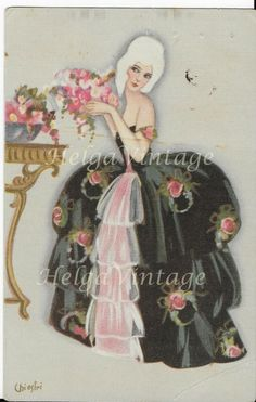 Italian Chiostri Art Deco art postcard with lady in rococo black dress, roses Rose In A Glass, Japanese Vase, Van Gogh Art, Renaissance Paintings, Italian Renaissance, London Art, Vincent Van Gogh, Rococo, Antique Art