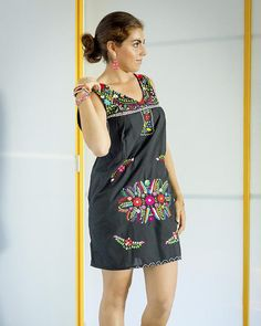d688e3c367f08 SALE Mexican Embroidered Dress Chelow in Black