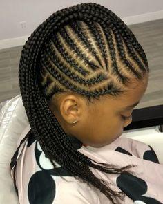 Braids so crisp! so crisp! Box Braids Hairstyles, Lil Girl Hairstyles, Black Kids Hairstyles, Girls Natural Hairstyles, Easy Hairstyles For Medium Hair, Kids Braided Hairstyles, My Hairstyle, Hairstyles 2018, Elegant Hairstyles