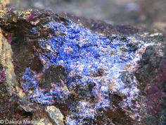 Stanekite,  Fe+++(Mn,Fe++,Mg)(PO4)O, with Phosphosiderite, Buranga pegmatite, Gatumba dist., Western Prov., Rwanda. A mass of dull brownish black with alterations to purple Phosphosiderite
