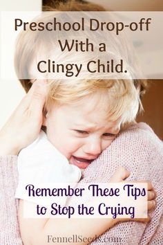 3 tips that helped my clingy daughter handle preschool drop-off. Whenever she starts to cry at drop-off I remember these steps and it goes back to a hug and a wave.