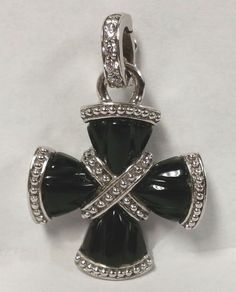 Judith Ripka Sterling Silver Diamonique Black Onyx Cross Enhancer Pendant #JudithRipka #sterlingsilver #onyx #cross #pendant