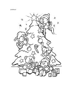 Christmas Tree Coloring Pages / Free Printable Coloring Pages for Kids - Coloring Books Christmas Tree With Presents, Christmas Books, Christmas Images, Christmas Elf, Snoopy Coloring Pages, Coloring Pages For Kids, Coloring Books, Kids Coloring, Printable Christmas Coloring Pages