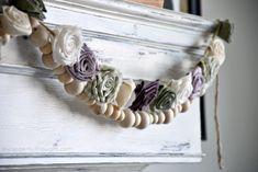 DIY Fabric Flower Garland - A Wonderful Thought Easy Fabric Flowers, Diy Flowers, Crochet Flowers, Flower Pots, Floral Garland, Diy Garland, Flower Garlands, Fabric Strips, Egg Decorating