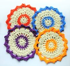 Crochet Mandala Cotton Natural Dishcloth by MysticMandalas4You