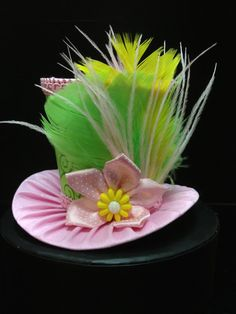 Pink and Green Mini Top Hat for Dress Up by daisyleedesign on Etsy