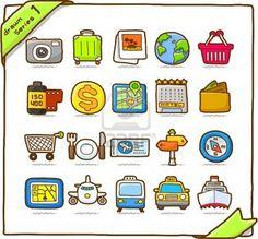 Hand drawn travel icon, vacation, trip  Stock Photo