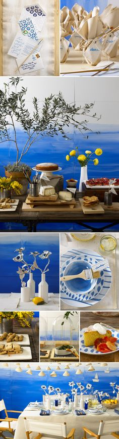 Mediterranean Sea-Side Inspired Afternoon Party - Greek wedding colors
