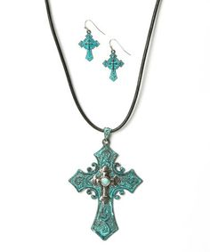 Loving this Turquoise Pendant Necklace & Earrings on #zulily! #zulilyfinds