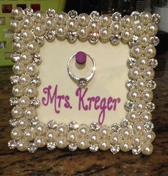 Engagement gift/ring frame.. need to make this to hold my ring when I'm cleaning, sleeping, etc.