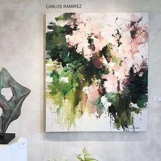 """From the Five Painters Paint Show @hunterkirklandgallery """"First Blooms"""" 56x48 #contemporaryart #modernart #abstractart #abstractlandscape #garden #flowers #abstractexpressionism #interiordesign #interiors #color #santafeart #art #artist #santafe #carlosramirez"""