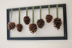 Framed pine cones w/ detailed instructions on site.  Thinking the same idea with photos, Christmas tree balls, etc.