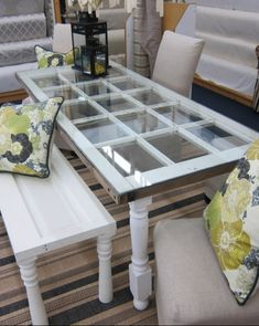 Make an Old French Door Dining Table #OldWindowOutdoor #WindowOutdoor #OldWindow