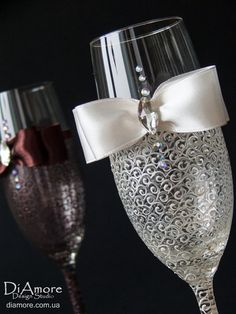 chocolate and ivory Wedding champagne glasses / LACE