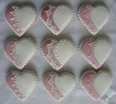 svadobné srdiečka Lace Cookies, Tea Cookies, Galletas Cookies, Cupcake Cookies, Sugar Cookies, My Sweet Valentine, Valentine Cookies, Easter Cookies, Valentines