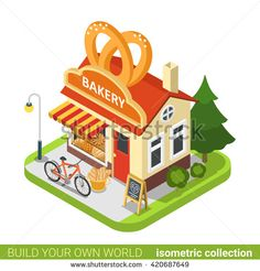 bakery shop pretzels building cafe restaurant flat 3d isometry