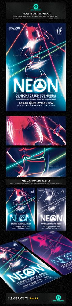 Neon Laser Fluo Light Sexy Flyer Template PSD #design Download: http://graphicriver.net/item/neon-laser-fluo-light-sexy-flyer-template/13124617?ref=ksioks