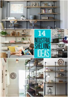 14 Industrial Shelving Ideas to help you get organized!!-- Tatertots and Jello #DIY #organization