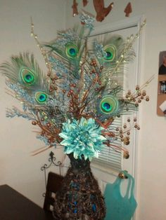 Peacock floral arrangement I made for my bathroom