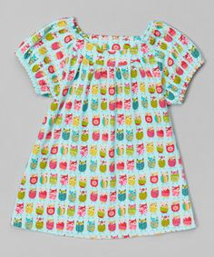 Look at this #zulilyfind! Aqua Owl Tunic - Toddler by Zutano #zulilyfinds