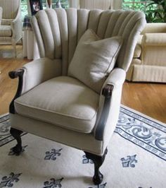 Great Channel Back Chair in Oatmeal Linen  by WydevenDesigns, $575.00