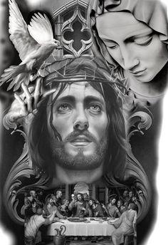 Jesus Tattoo Sleeve, Chicano Tattoos Sleeve, Best Sleeve Tattoos, Tattoo Outline Drawing, Jesus Artwork, Heaven Tattoos, Christ Tattoo, Lion Head Tattoos, Christian Warrior