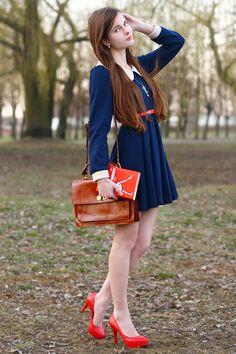 Navy blue peter pan collar dress