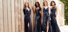 These Stylish Jenny Yoo Fall 2019 Bridesmaids Dresses are So Gorgeous We Literally Can't Choose a Favorite - Guide Bridal Printed Bridesmaid Dresses, Bridesmaid Dress Colors, Blue Bridesmaids, Bridesmaid Gowns, Bridal Gowns, Wedding Dresses, Fall Dresses, Prom Dresses, Bride Dresses