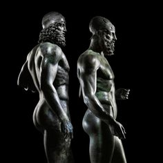 The Riace Warriors two full-size Greek bronzes of naked bearded warriors cast about 460450 BC and found in the sea off Calabria.[1300x1300]