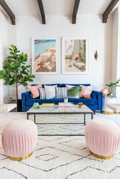 Get inspired by Glam Living Room Design photo by Joss & Main. Joss & Main lets you find the designer products in the photo and get ideas from thousands of other Glam Living Room Design photos. Glam Living Room, Living Room Interior, Home And Living, Blue Velvet Sofa Living Room, Blue And Pink Living Room, Bright Living Room Decor, Living Room Area Rugs, Living Room Decor Beach, Living Room With Color