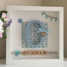 New Baby Boy Gift Personalised Picture Frame Monogram