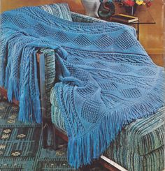 156 PDF Afghan Blanket Crochet Pattern, Bedding, Throw, Diamond and Cable Pattern, 50 x 65 Inches, PDF Download, Vintage 1960's by LammDigital on Etsy