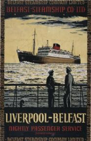 This poster was produced by the Belfast Steamship Company Limited to promote travel to and from Belfast Northern Ireland and Liverpool United Kingdom Travel Ads, Bus Travel, Belfast, Liverpool, Charles Trenet, British Travel, Photo Deco, Vintage Boats, Advertising Poster