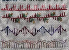 Embroidery stitches. Buttonhole stitches of different lengths. Bottom row is narrow row of buttonhole at the top of the scallop.