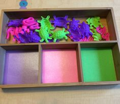 Sorting Trays- Trays from Amazon, sorters from Dollar Tree, cut/laminated card stock in the smaller compartments.